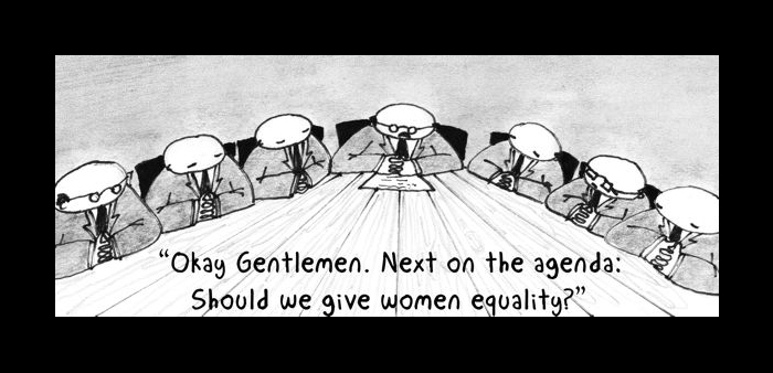 board of men cartoon deciding on women