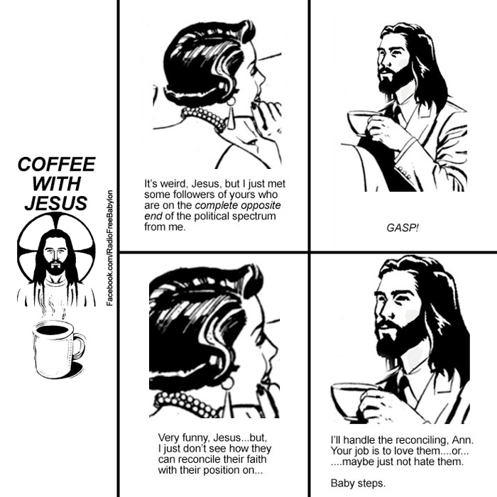 coffee with Jesus cartoon POLITICAL SPECTRUM