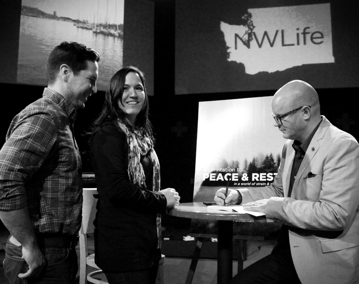 PB signing with will and chelsea bennett BW