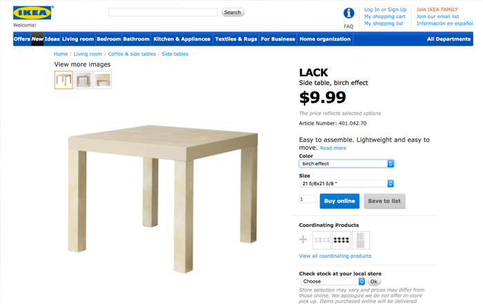ikea lack table for post